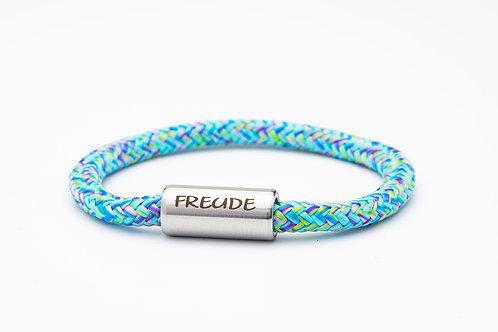 Armband hell blau meliert, mit Tomanika Freude