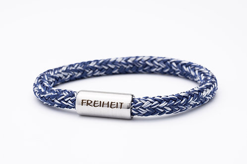 Armband dunkel blau meliert, mit Tomanika Freiheit