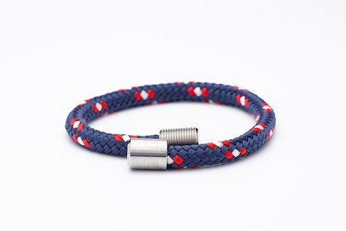 Wechselarmband, blau, rot, weiß