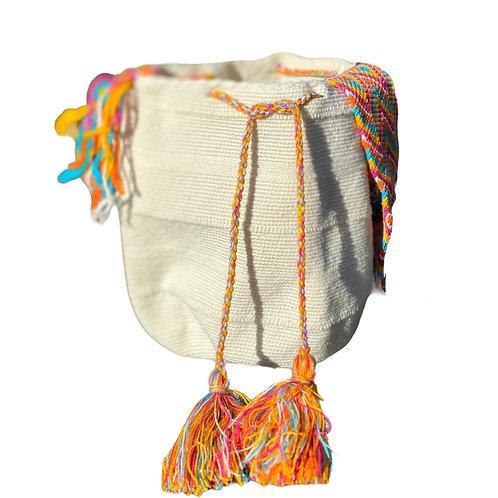 Wayuu Unicolor bag - White Orange