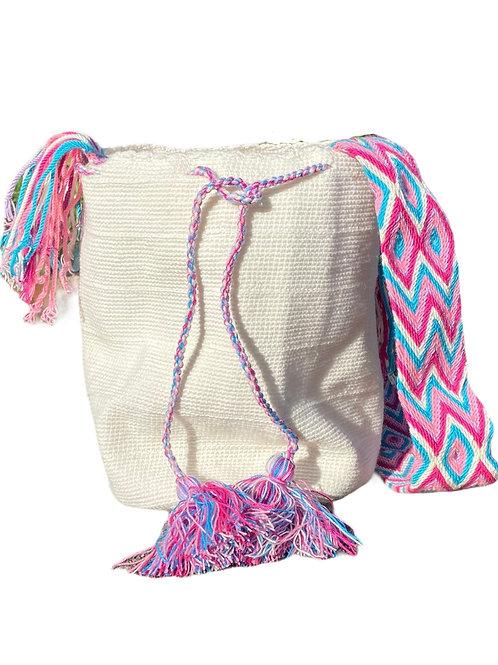 Wayuu Unicolor bag - White pink