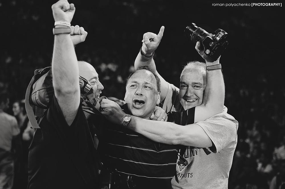 PHOTO CREDIT: Roman Polyachenko Photography. Here three CheerMADs react to the announcement of C5's Gold Championship