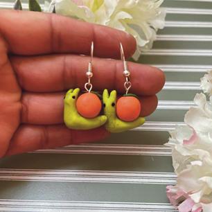 Polymer Orange Snail Earring