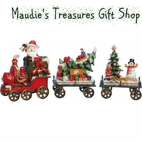 bring christmas cheer to your home with this jolly christmas train set this three piece set features a fun display of christmas spirit with santa