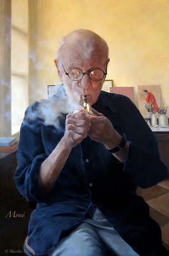 _ Blowing Smoke (Portrait of Aaron Shikler)_©Nicole Moné_24x36_Oil.jpeg