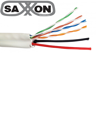 SAXXON UTP5ECCAL03-CAT 5E MAS 2 CABLES DE ENERGIA 18 AWG/CCA/BOBINA 305 MTS