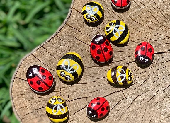 Ladybug/Bumblebee Tic-Tac-Toe Rocks