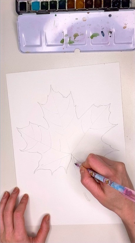 Outlining watercolor maple leaf