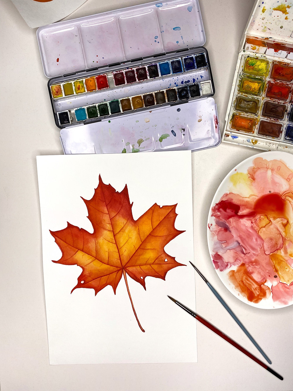 Finished watercolor maple leaf