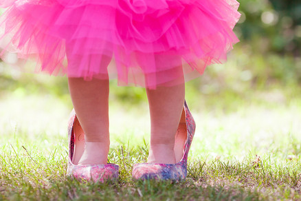 baby in high heel lady shoes