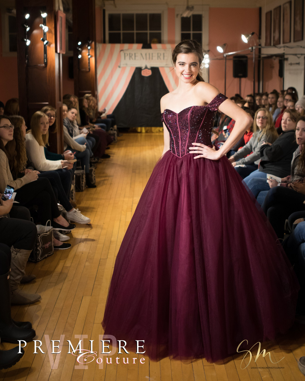 215831350f Ella models a luscious a black plum ball gown with an off the shoulder  corset bodice covered completely in crystals. Make up by Tobi Bolt