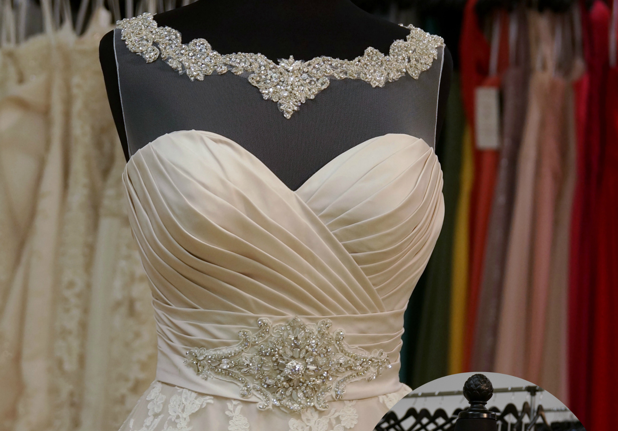 9202 with B11 hign neck with wide beaded lace border