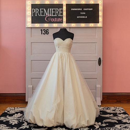 Dress 136:   Strapless Tulle and taffeta Bubble hem Wedding Dress