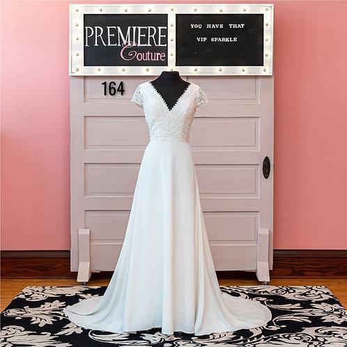Dress 164:   Short Sleeve Chiffon and Lace Wedding Dress
