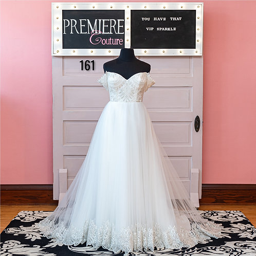 Dress 161:  Off the Shoulder Tulle and Lace Ball Gown Wedding Dress