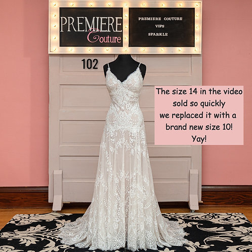 Dress 102: Spaghetti Strap Lace Wedding Dress, Allure Bridals 3221