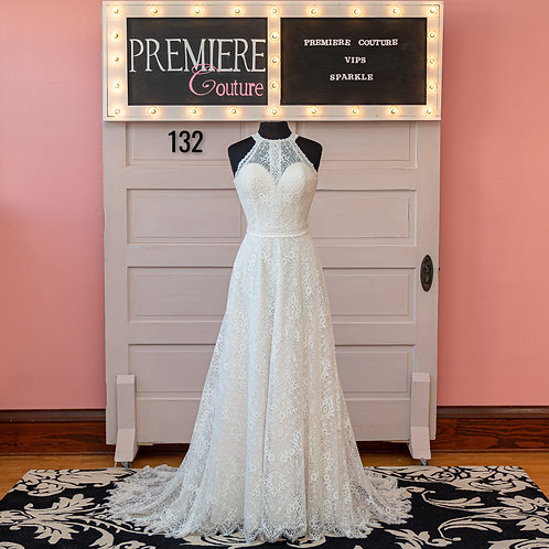Dress 132:  Boho Chic Halter Lace Wedding Dress