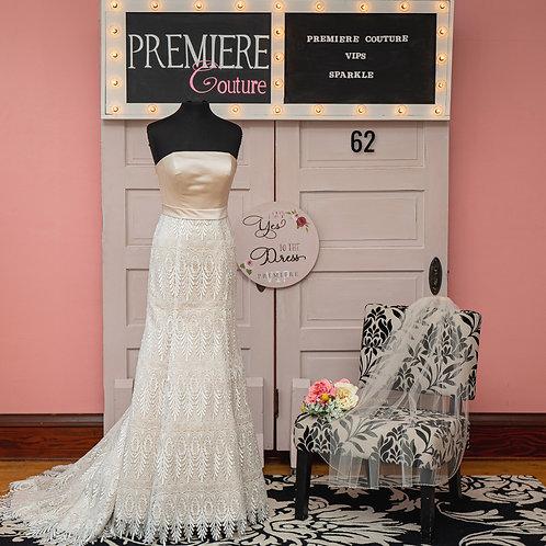 Dress 62: Lush Satin and Lace Strapless Wedding Dress
