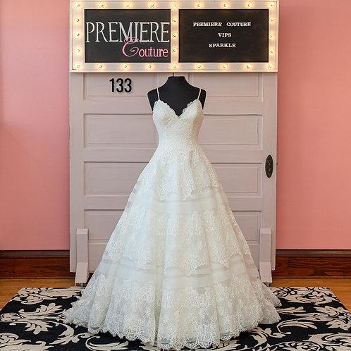 Dress 133:   Allure Style 9400 Spaghetti Strap Lace Ball Gown Wedding Dress