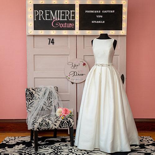 Dress 74: Full Mikado Bridal Gown with Bateau Neckline