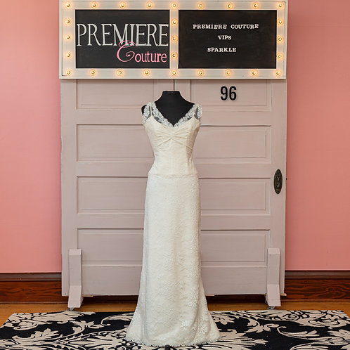 Dress 96:  Lace V-Neck Sheath Wedding Dress
