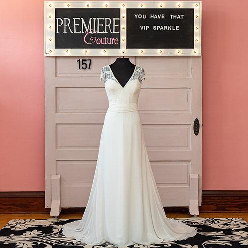 Dress 157:   Cap Sleeve Chiffon Wedding Dress