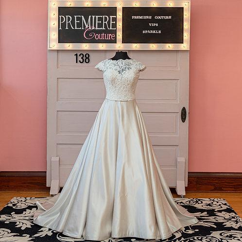 Dress 138:   Lace and satin Cap Sleeve Wedding Dress