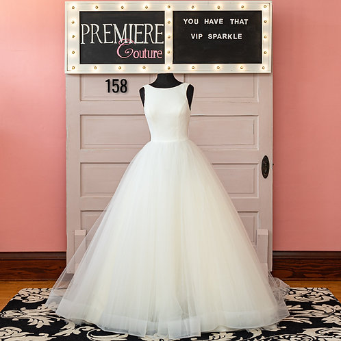 Dress 158:   Crepe and Tulle Ball Gown Wedding Dress