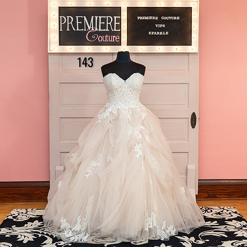 Dress 143:   Allure 3309 Strapless Champagne Wedding Dress