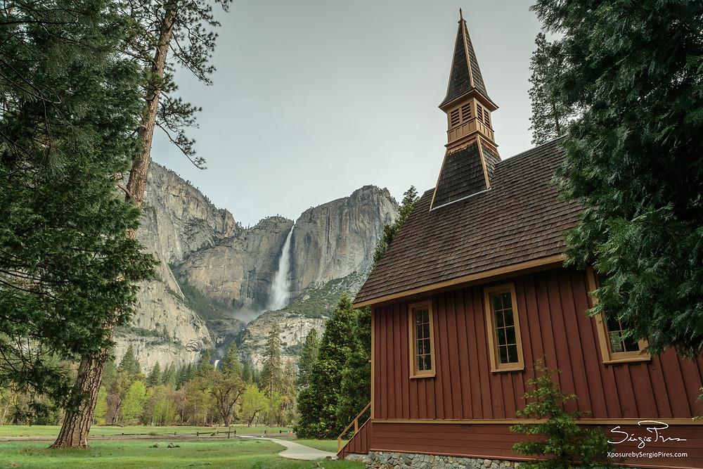 Upper Yosemite Falls and Yosemite Chapel