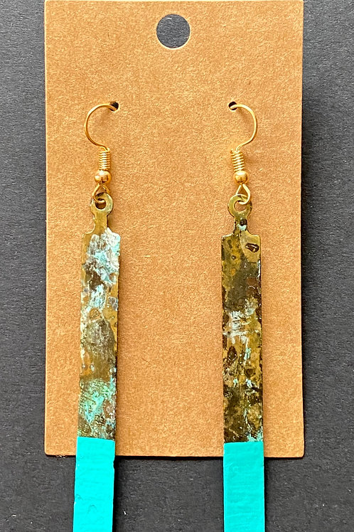 Color Block Patina Earring