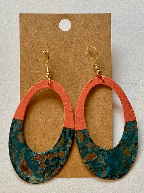 Color Block Patina Earring