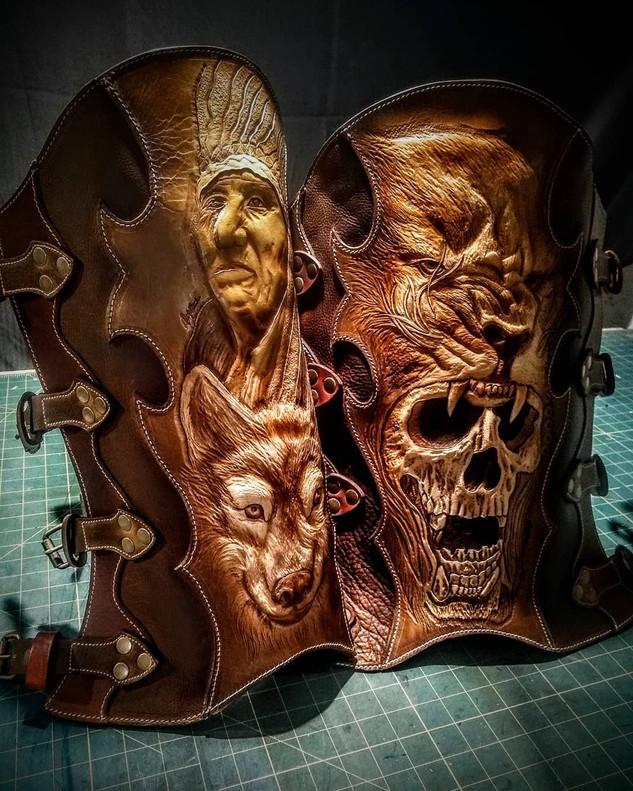 Custom carved half chaps