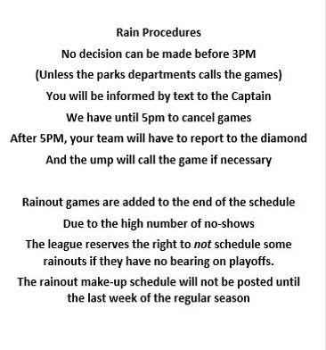 Mile Sports | Buffalo, NY | Softball League Rain Procedures