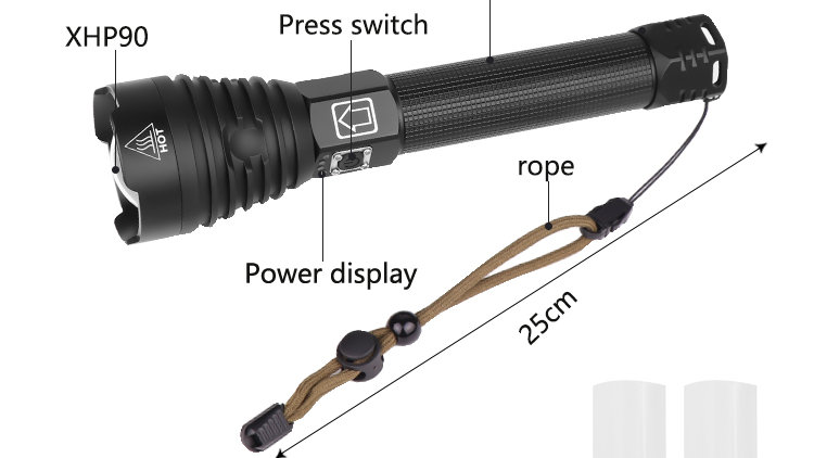 XHP90 LED Flashlight Tactical - 90000LM (Most Powerful)