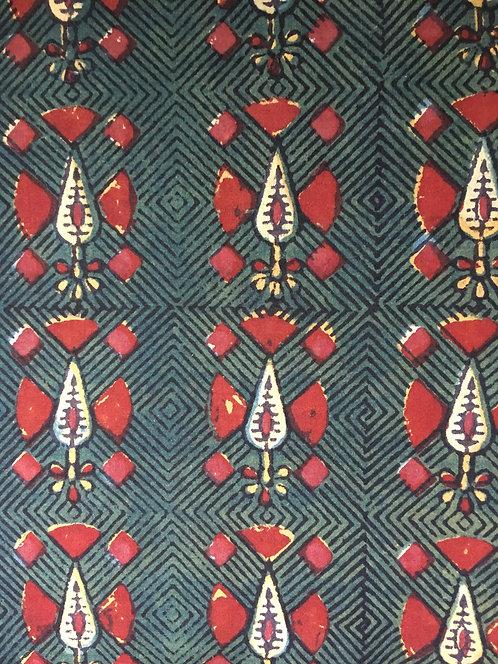 510 traditional block printed fabric - pear drop