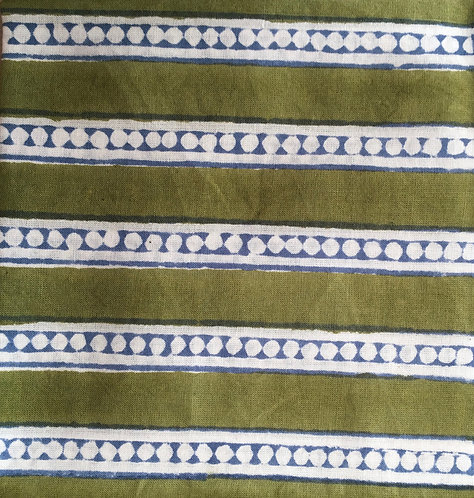 403fq Block printed green dot stripe