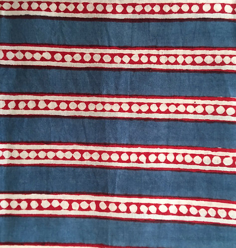 402 Block printed blue dot stripe