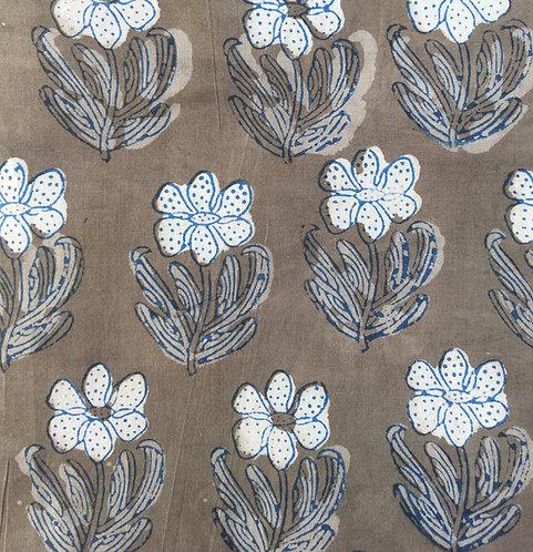 309 Block Printed wild flower