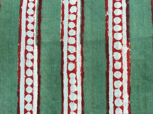 404. block printed - forest green stripe dots