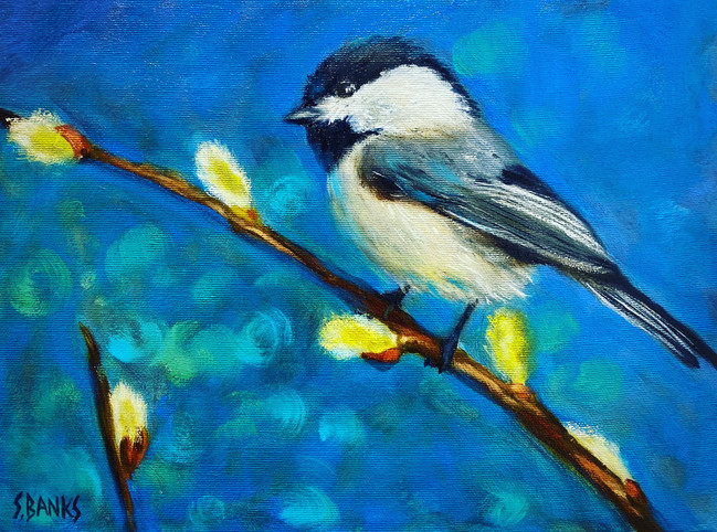 Chickadee With Pussy Willows