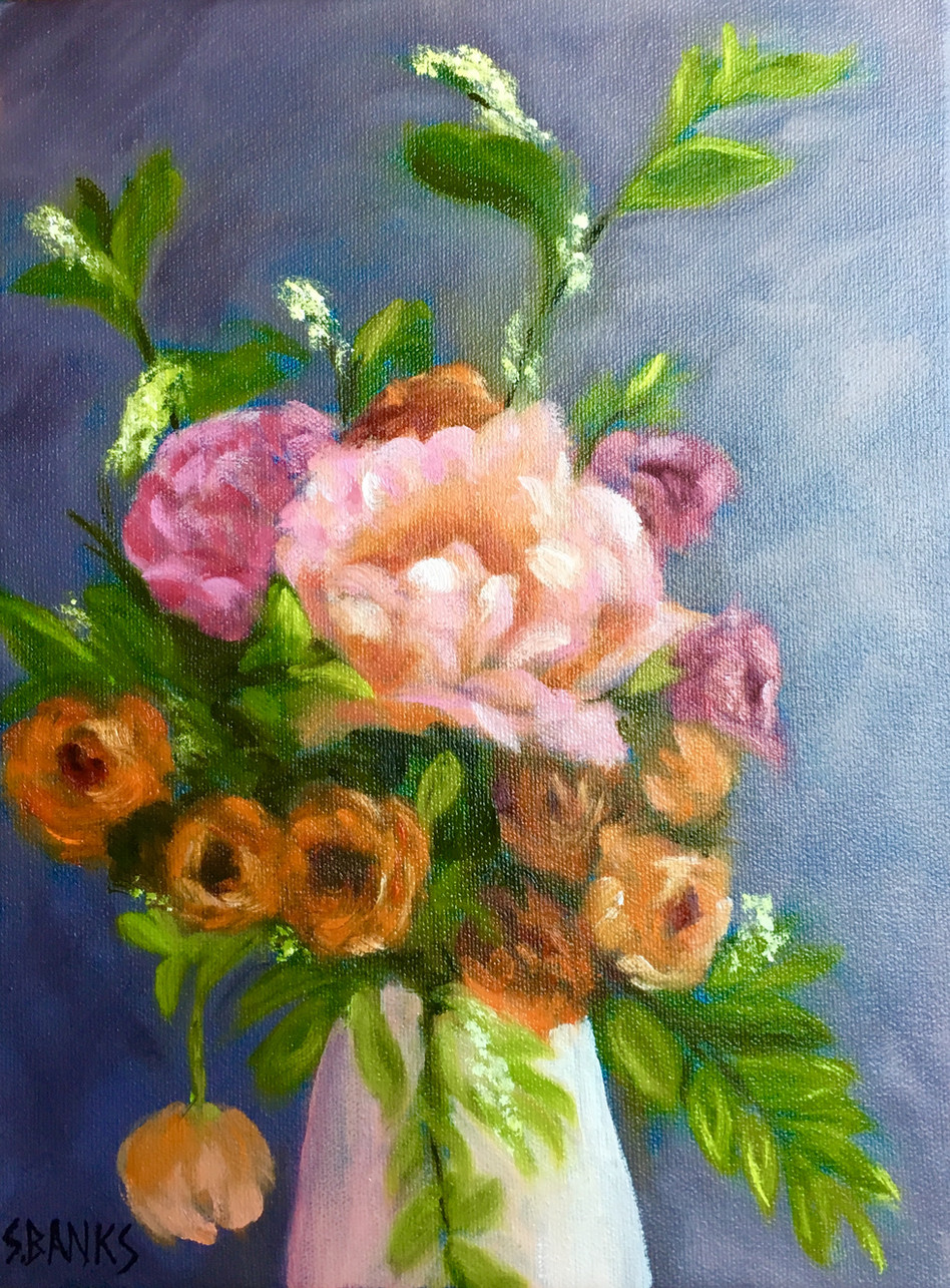Peonies And Ranunculus In A Vase