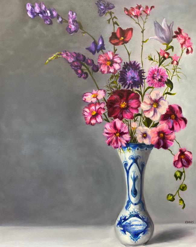 """Flowers in a Delftware Vase"""