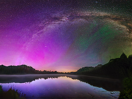 Milky Way and aurora from Mount Rainier National Park