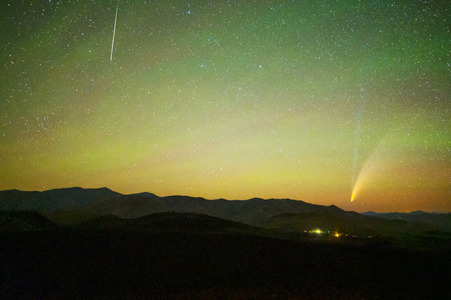 Comet NEOWISE and a Perseid Meteor