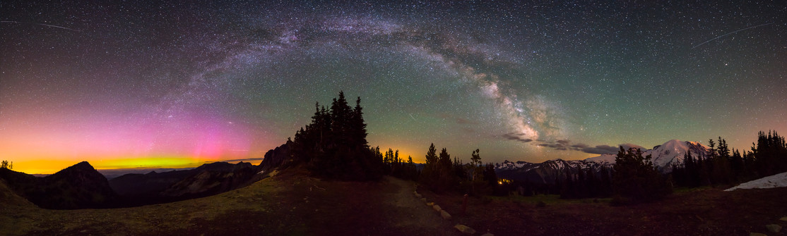 Milky Way with Aurora from Mount Rainier