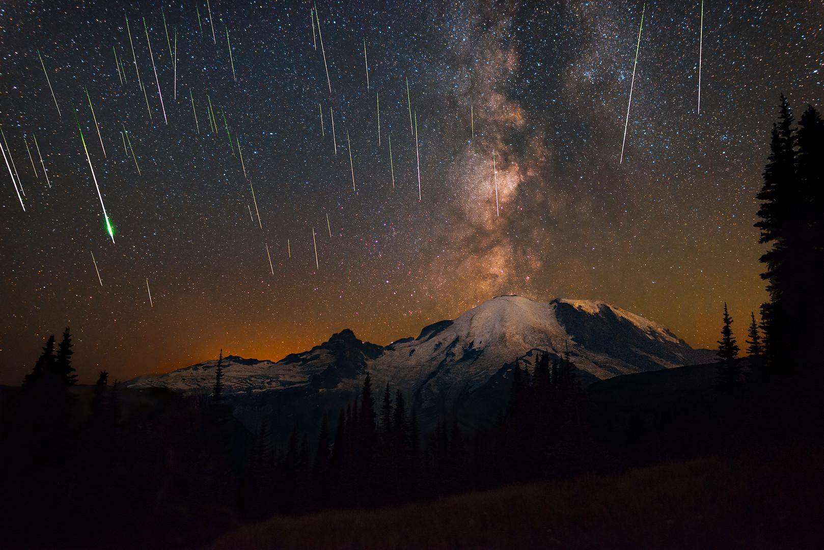 Perseid Meteors over Mount Rainier