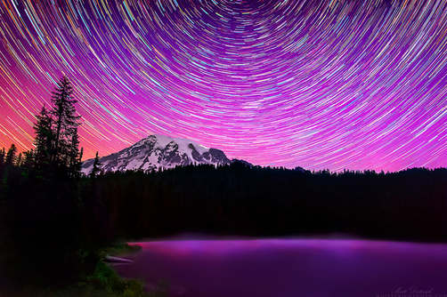Northern Lights over Mt. Rainier