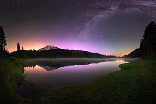 Aurora at Mount Rainier's Reflection Lake
