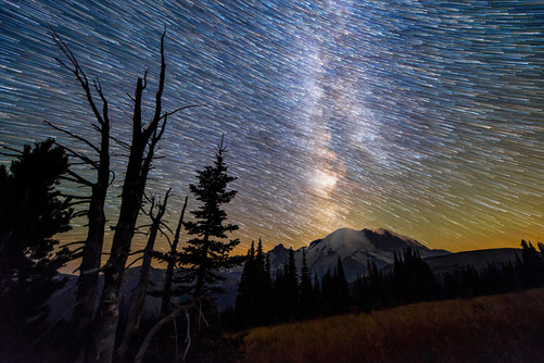 Star Trails in Sunrise at Mount Rainier